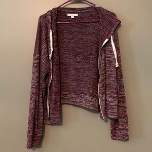 AE hooded, zip-up sweatshirt